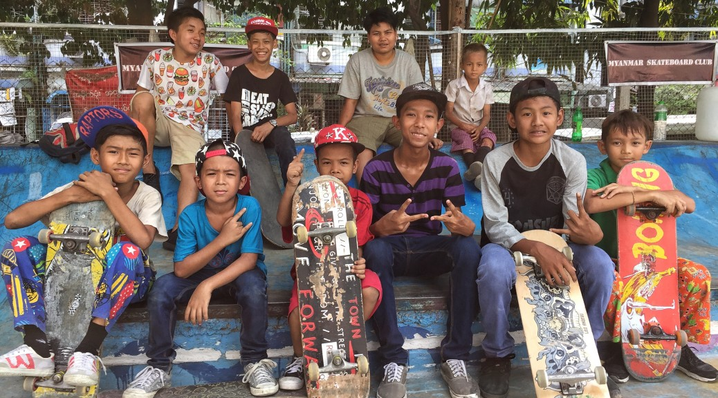 Photo of some of the skateboarders James Holman was filming in Yangon Myanmar